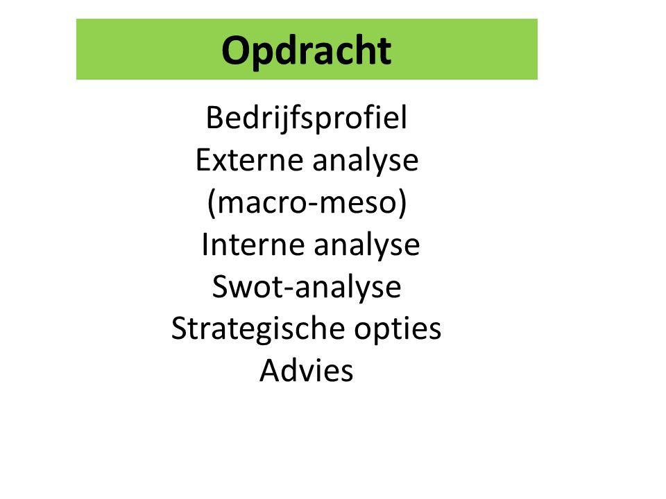 Bedrijfsprofiel Externe analyse (macro-meso) Interne analyse Swot-analyse Strategische opties Advies Opdracht