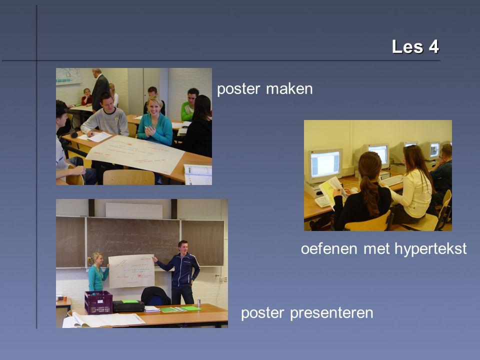 Les 4 oefenen met hypertekst poster presenteren poster maken