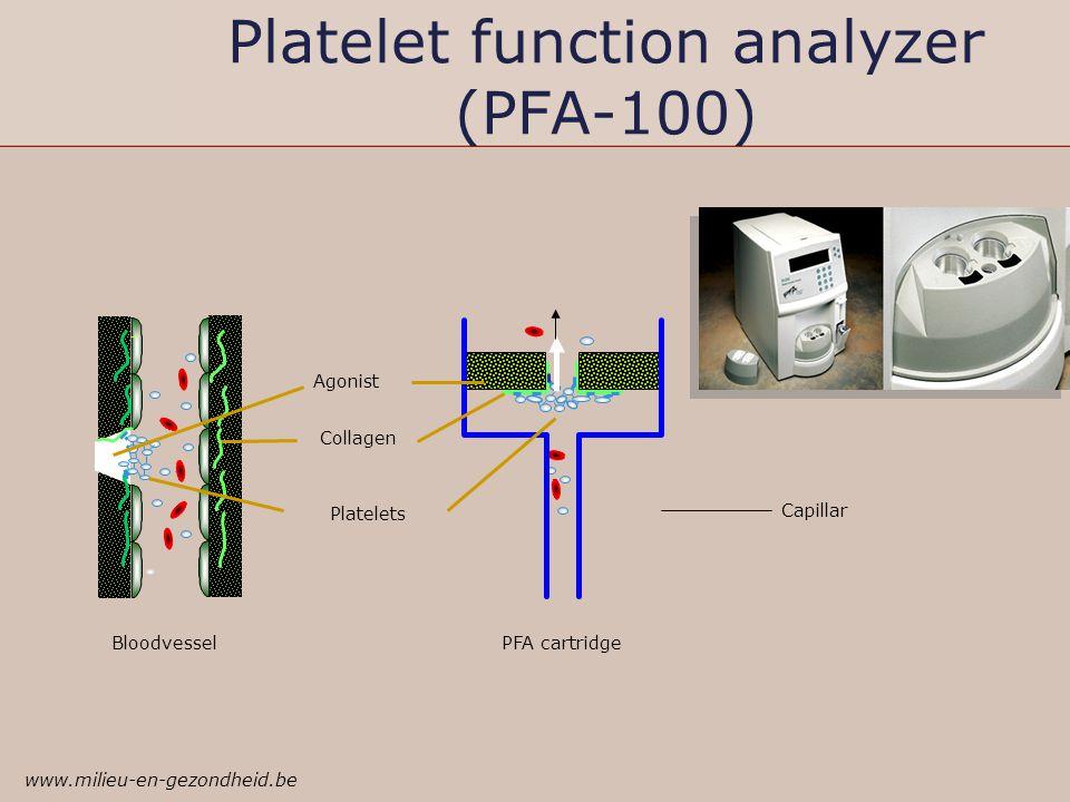 Platelet function analyzer (PFA-100) Bloodvessel PFA cartridge Agonist Platelets Collagen Capillar www.milieu-en-gezondheid.be