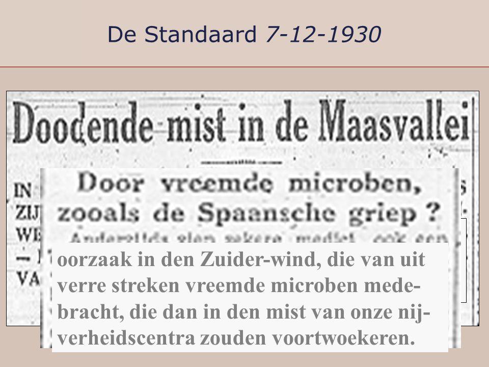 De Standaard 7-12-1930 Men had reeds de meening geopperd dat het wel giftige oorlogsgassen konden zijn die zich met den mist hadden vermengd. oorzaak
