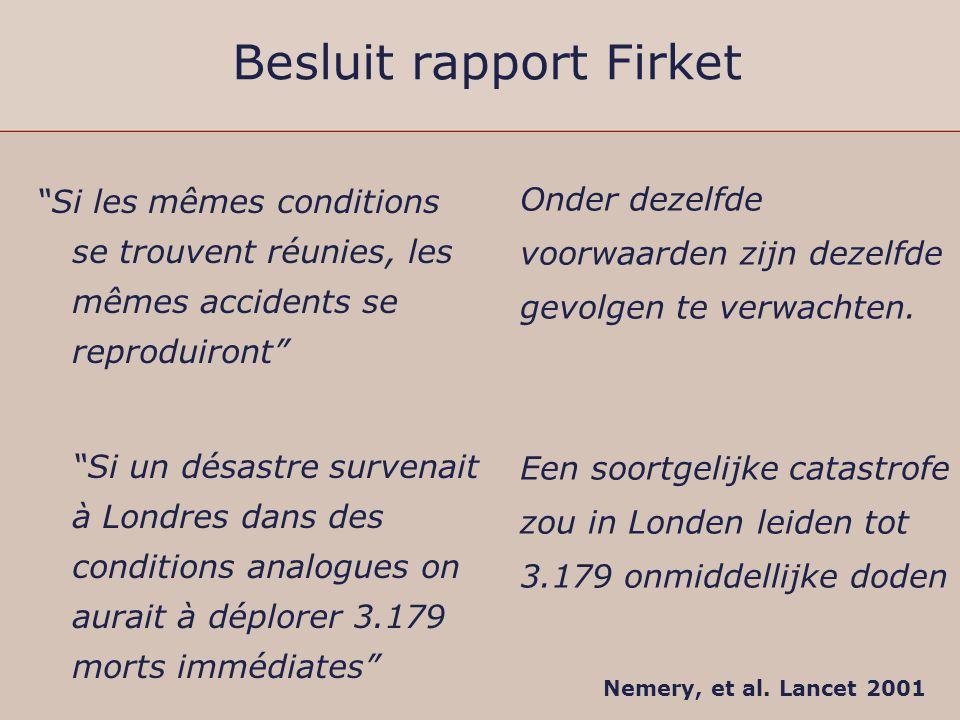 """Besluit rapport Firket """"Si les mêmes conditions se trouvent réunies, les mêmes accidents se reproduiront"""" """"Si un désastre survenait à Londres dans des"""
