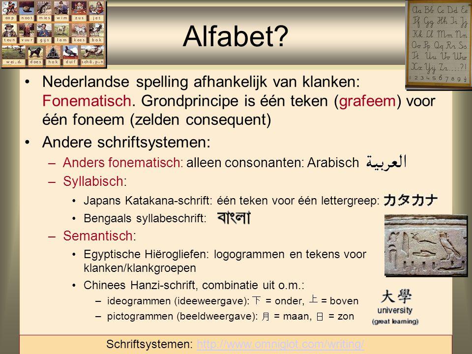 16 Nederlandse spelling afhankelijk van klanken: Fonematisch. Grondprincipe is één teken (grafeem) voor één foneem (zelden consequent) Andere schrifts