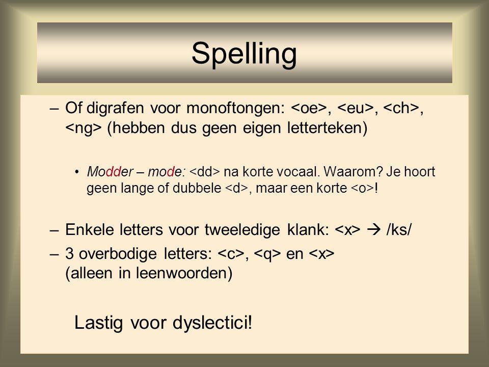 18 –Of digrafen voor monoftongen:,,, (hebben dus geen eigen letterteken) Modder – mode: na korte vocaal. Waarom? Je hoort geen lange of dubbele, maar