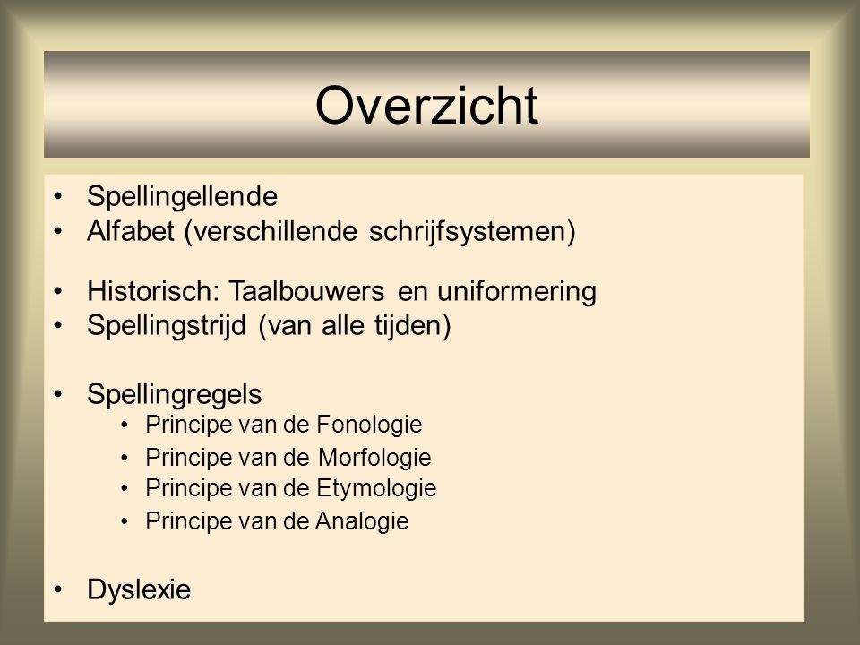 2 Overzicht Spellingellende Alfabet (verschillende schrijfsystemen) Historisch: Taalbouwers en uniformering Spellingstrijd (van alle tijden) Spellingr