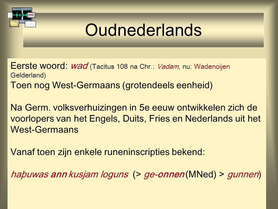 23 Oudnederlands Eerste woord: wad (Tacitus 108 na Chr.: Vadam, nu: Wadenoijen Gelderland) Toen nog West-Germaans (grotendeels eenheid) Na Germ. volks