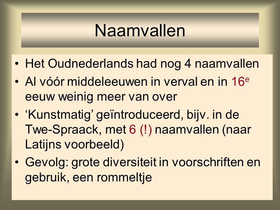 32 Het Oudnederlands had nog 4 naamvallen Al vóór middeleeuwen in verval en in 16 e eeuw weinig meer van over 'Kunstmatig' geïntroduceerd, bijv. in de