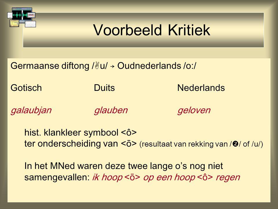 43 Voorbeeld Kritiek Germaanse diftong /  u/ → Oudnederlands /o:/ GotischDuitsNederlands galaubjanglaubengeloven hist. klankleer symbool ter ondersch