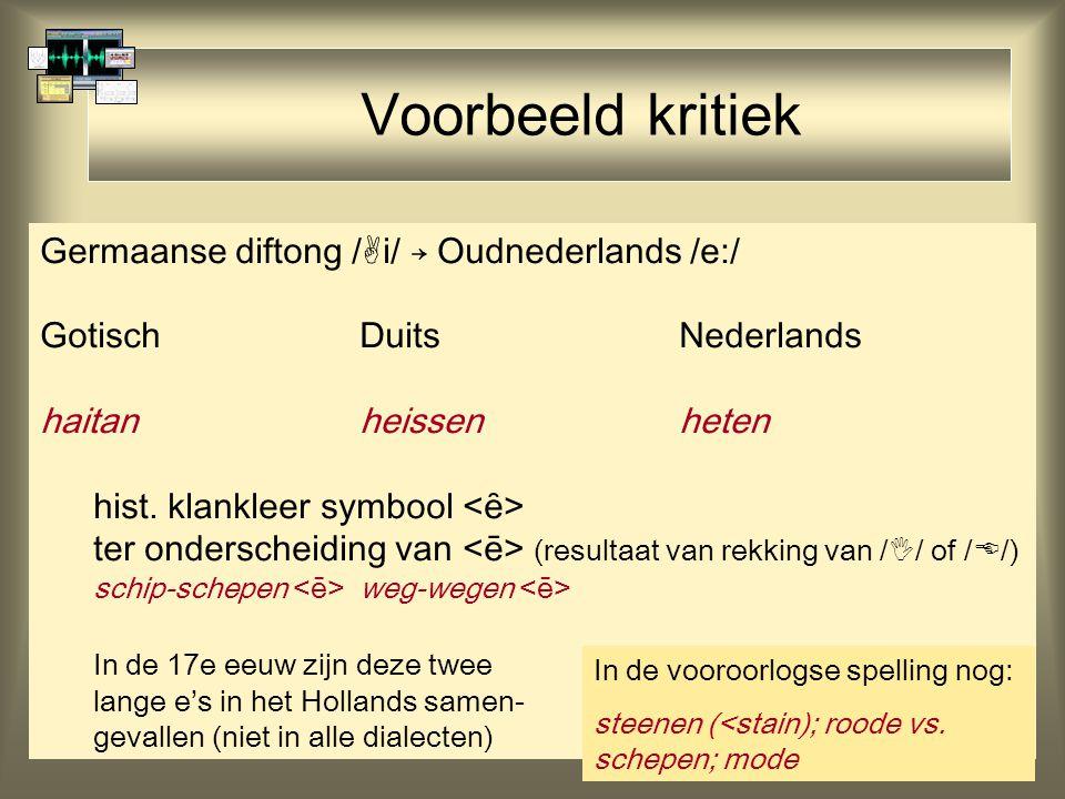 44 Voorbeeld kritiek Germaanse diftong /  i/ → Oudnederlands /e:/ GotischDuitsNederlands haitanheissenheten hist. klankleer symbool ter onderscheidin