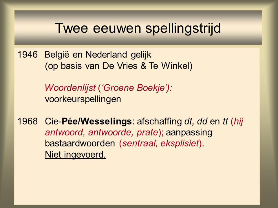 46 Twee eeuwen spellingstrijd 1946België en Nederland gelijk (op basis van De Vries & Te Winkel) Woordenlijst ('Groene Boekje'): voorkeurspellingen 19