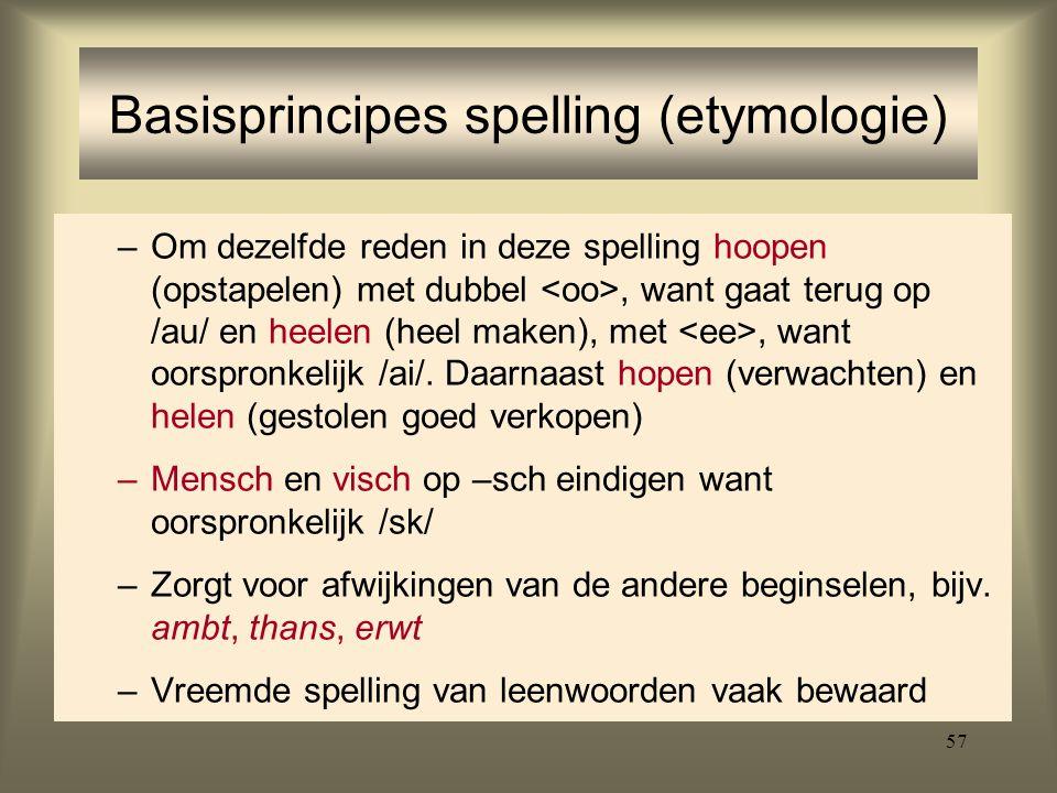 57 –Om dezelfde reden in deze spelling hoopen (opstapelen) met dubbel, want gaat terug op /au/ en heelen (heel maken), met, want oorspronkelijk /ai/.