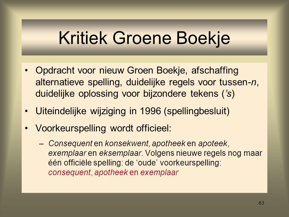 63 Kritiek Groene Boekje Opdracht voor nieuw Groen Boekje, afschaffing alternatieve spelling, duidelijke regels voor tussen-n, duidelijke oplossing vo