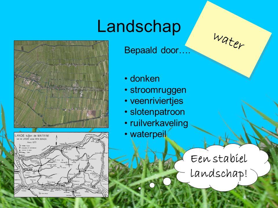 Landschap water Bepaald door…. Een stabiel landschap! donken stroomruggen veenriviertjes slotenpatroon ruilverkaveling waterpeil
