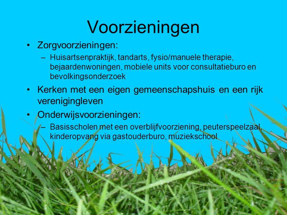 Voorzieningen Zorgvoorzieningen: –Huisartsenpraktijk, tandarts, fysio/manuele therapie, bejaardenwoningen, mobiele units voor consultatieburo en bevol