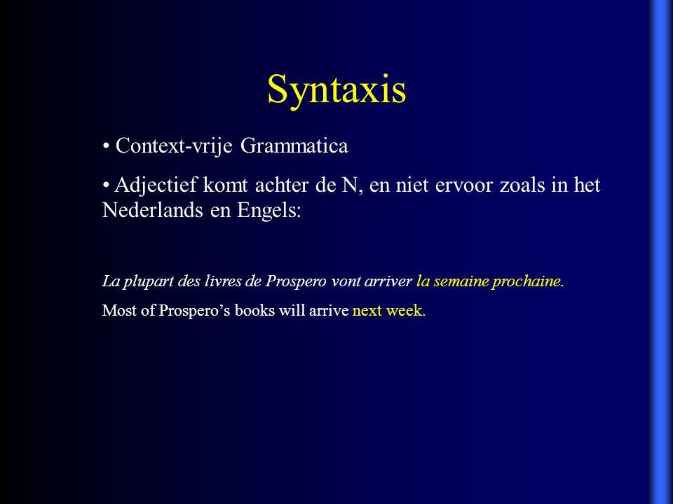 Syntaxis Context-vrije Grammatica Adjectief komt achter de N, en niet ervoor zoals in het Nederlands en Engels: La plupart des livres de Prospero vont