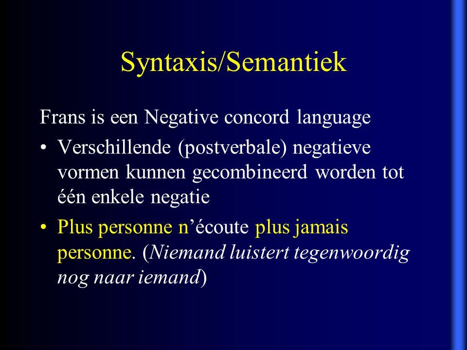 Frans is een Negative concord language Verschillende (postverbale) negatieve vormen kunnen gecombineerd worden tot één enkele negatie Plus personne n'