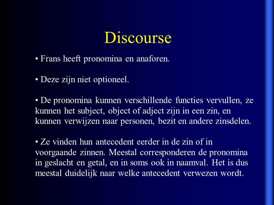 Frans heeft pronomina en anaforen. Deze zijn niet optioneel. De pronomina kunnen verschillende functies vervullen, ze kunnen het subject, object of ad