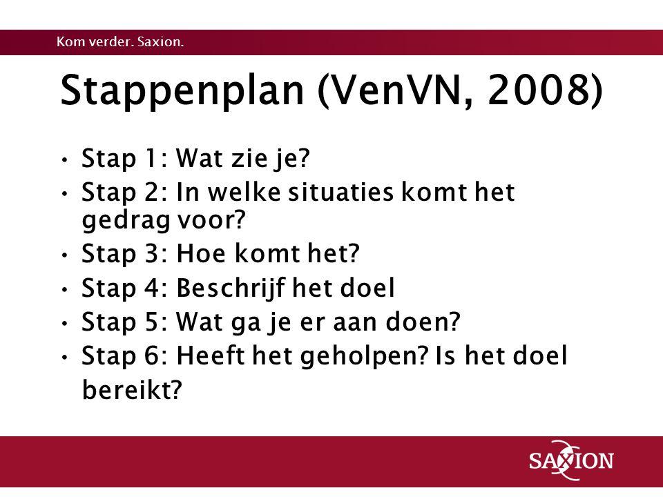 Kom verder. Saxion. Stappenplan (VenVN, 2008) Stap 1: Wat zie je? Stap 2: In welke situaties komt het gedrag voor? Stap 3: Hoe komt het? Stap 4: Besch