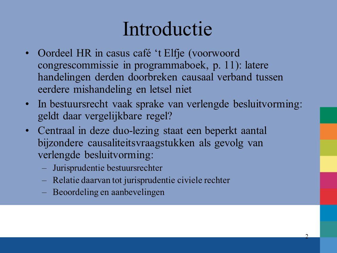 2 Introductie Oordeel HR in casus café 't Elfje (voorwoord congrescommissie in programmaboek, p. 11): latere handelingen derden doorbreken causaal ver
