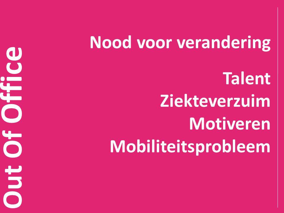 Out Of Office Nood voor verandering Talent Ziekteverzuim Motiveren Mobiliteitsprobleem