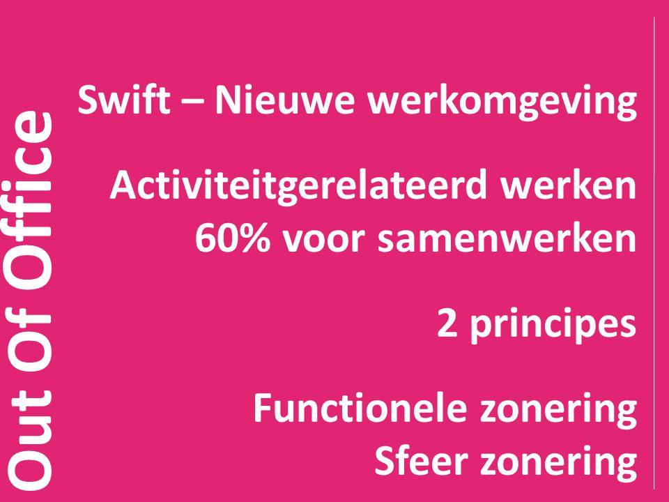 Out Of Office Swift – Nieuwe werkomgeving Activiteitgerelateerd werken 60% voor samenwerken 2 principes Functionele zonering Sfeer zonering