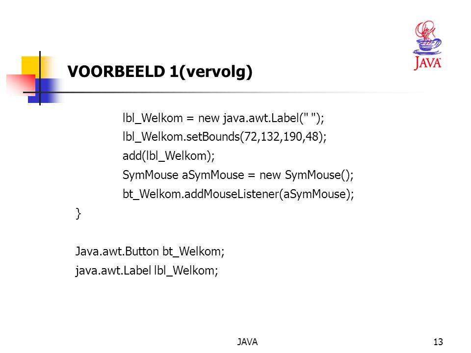 JAVA14 class SymMouse extends java.awt.event.MouseAdapter { public void mouseClicked(java.awt.event.MouseEvent event) {Object object = event.getSource(); if (object == bt_Welkom) btWelkom_MouseClick(event); } void btWelkom_MouseClick(java.awt.event.MouseEvent event) {lbl_Welkom.setText( Welkom bij Visual Café! ); } VOORBEELD 1 (vervolg)