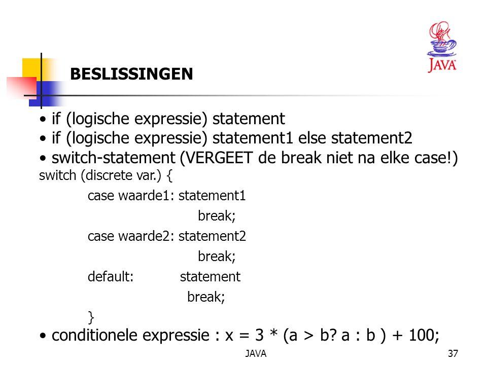JAVA38 CONVERSIE Promotie en casting: impliciete conversie int a= 10; double b = 10.2; b += a; expliciete conversie int i = (int) 3.14;