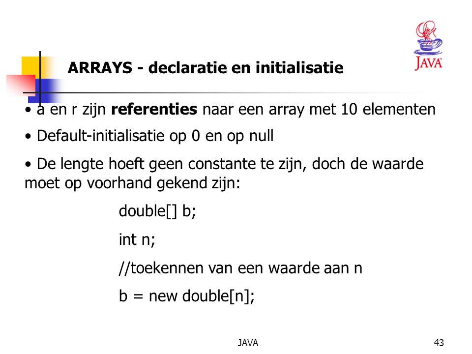 JAVA44 ARRAYS - declaratie en initialisatie length: public attribuut dat de lengte weergeeft b.length (kan niet meer gewijzigd worden) Declaratie en initialisatie kan gelijktijdig: String[] s= {'' Jan '', ''Stijn '', ''Steven ''} Automatische controle op de lengte (vs.