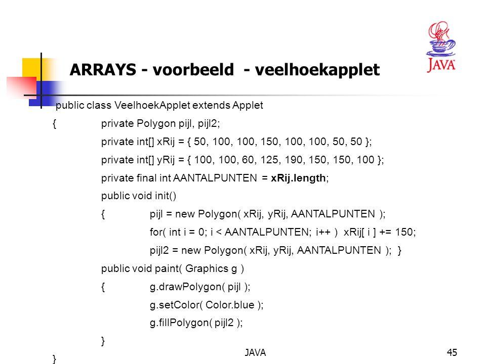 JAVA46 ARRAYS - referentiekarakter Referentiekarakter bij toekenning Stel: int[] a = new int[10], b; a[1] = 1; b = a;// a en b wijzen naar dezelfdearray.
