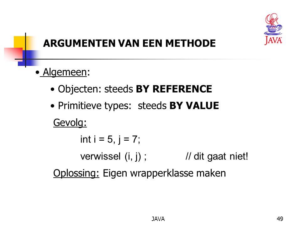 JAVA50 EIGEN WRAPPERKLASSE (1) public class IntObj { public static void main (String[] args) { MijnInt i = new MijnInt(5), j = new MijnInt(7) ; verwissel(i, j) ; System.out.println( Na verwisseling is : ) ; System.out.println( i = + i.x) ; System.out.println( j = + j.x) ; } static void verwissel( MijnInt a, MijnInt b) {int h = a.getX() ; a.setX(b.getX()) ; b.setX(h); } }