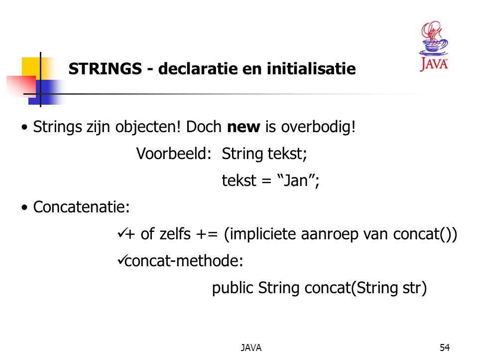 JAVA55 STRINGS - conversie Conversie van een getal naar een String Via lege string: s= + 123; Via static-methode valueOf() uit de String klasse int i = 321; String is = String.valueOf(i); double x = 3.14; String sx = String.valueOf(x); Opm: lengte van een string te bepalen via methode length(): int i = sx.length(); // GEEN static-methode!