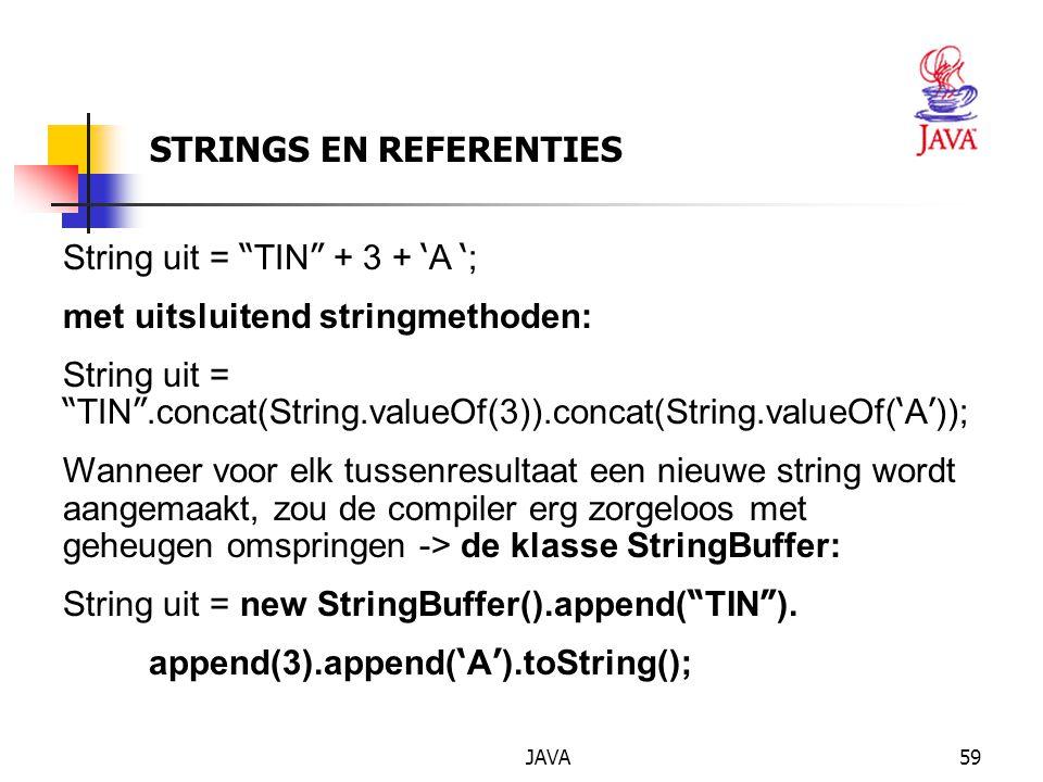 JAVA60 Klasse String : nuttige functies char charAt (int index); // om een karakter uit de string // te halen; de notatie str[i] bestaat niet in Java.