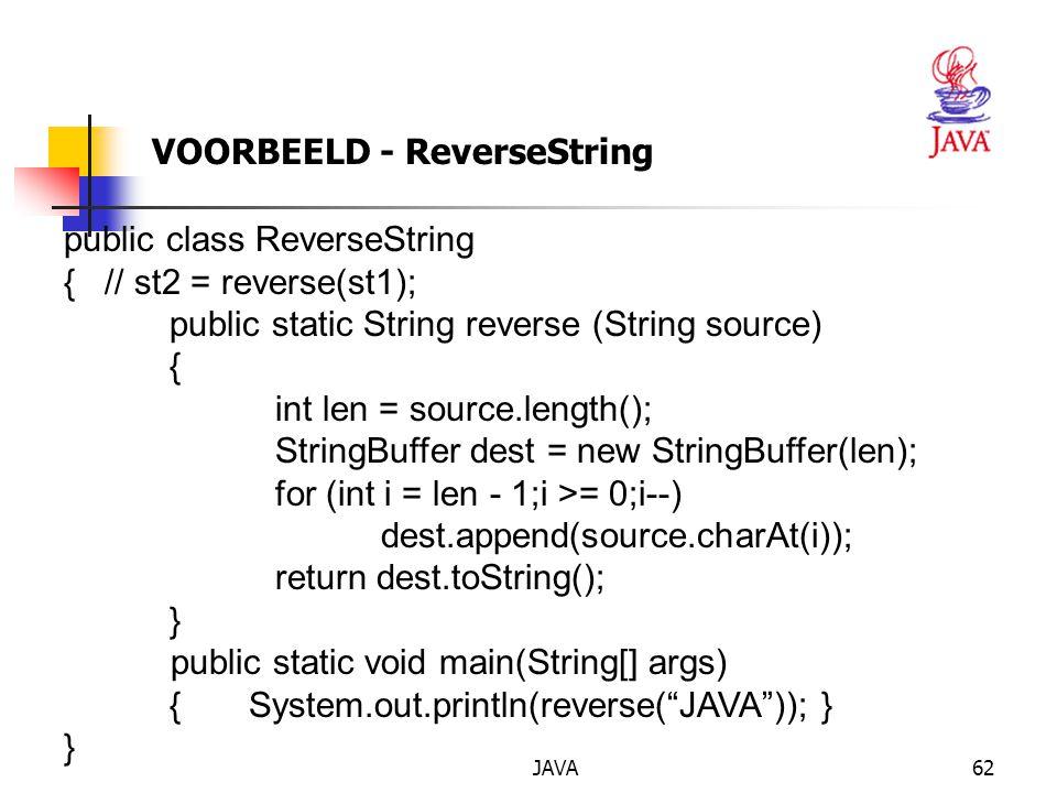 JAVA63 OEFENING op strings Maak een applicatie, die werkt met invoer via de programmaparameters: een string en een cijfer (tussen 1 en 4).