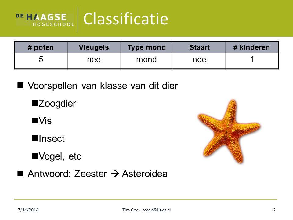 Classificatie # potenVleugelsType mondStaart# kinderen 5neemondnee1 7/14/2014Tim Cocx, tcocx@liacs.nl12 Voorspellen van klasse van dit dier Zoogdier V