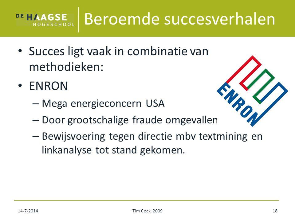 Beroemde succesverhalen Succes ligt vaak in combinatie van methodieken: ENRON – Mega energieconcern USA – Door grootschalige fraude omgevallen – Bewij