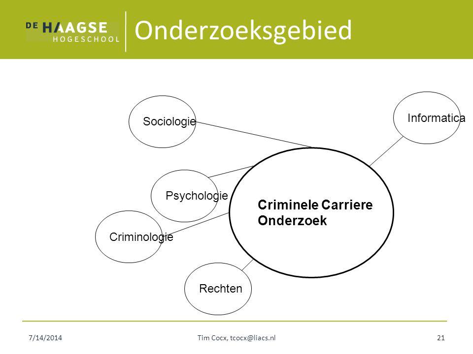 7/14/2014Tim Cocx, tcocx@liacs.nl21 Onderzoeksgebied Criminele Carriere Onderzoek Sociologie Psychologie Criminologie Rechten Informatica