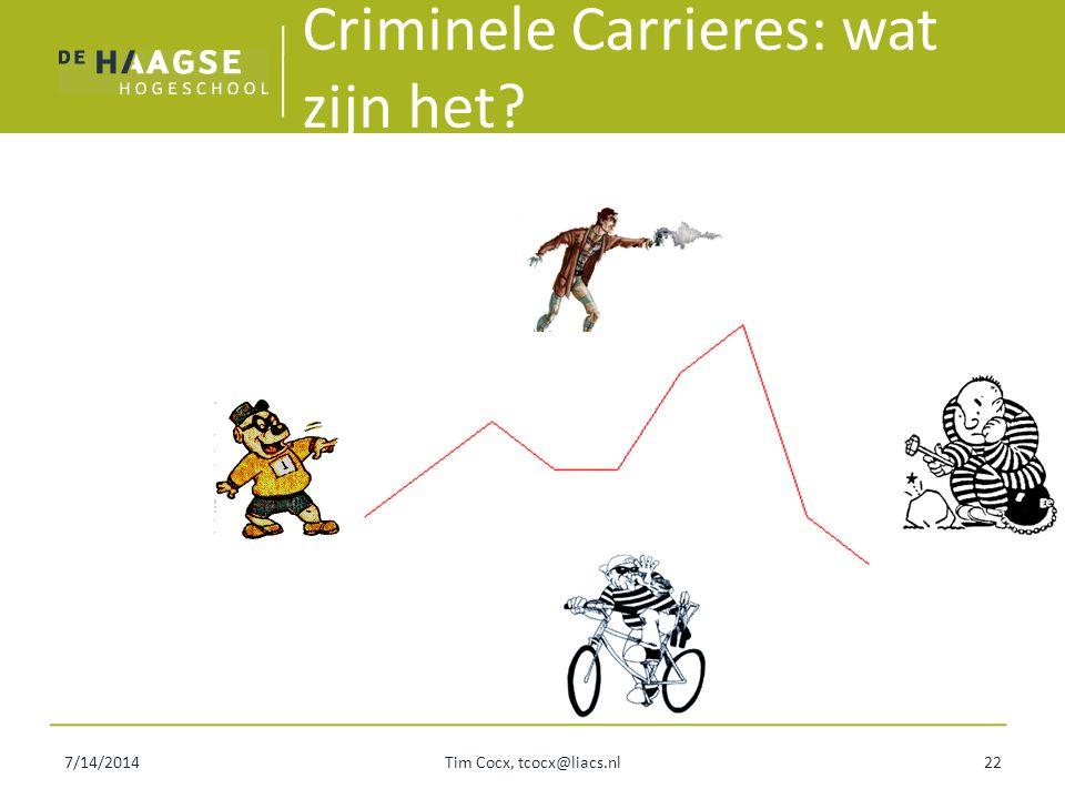 7/14/2014Tim Cocx, tcocx@liacs.nl22 Criminele Carrieres: wat zijn het?