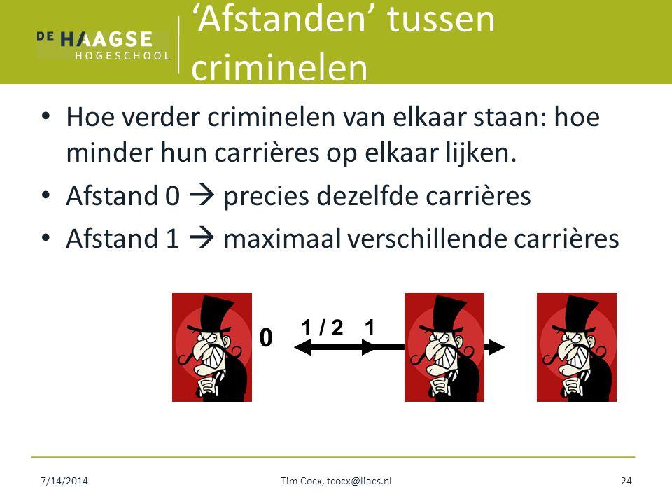 7/14/2014Tim Cocx, tcocx@liacs.nl24 'Afstanden' tussen criminelen Hoe verder criminelen van elkaar staan: hoe minder hun carrières op elkaar lijken. A