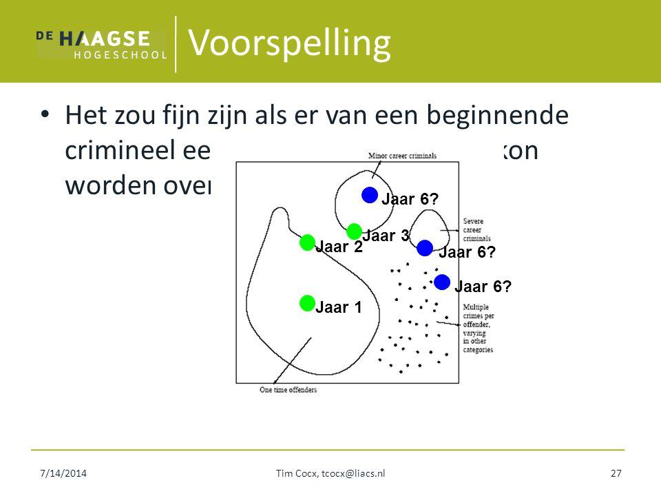 7/14/2014Tim Cocx, tcocx@liacs.nl27 Voorspelling Het zou fijn zijn als er van een beginnende crimineel een voorspelling gemaakt kon worden over zijn c