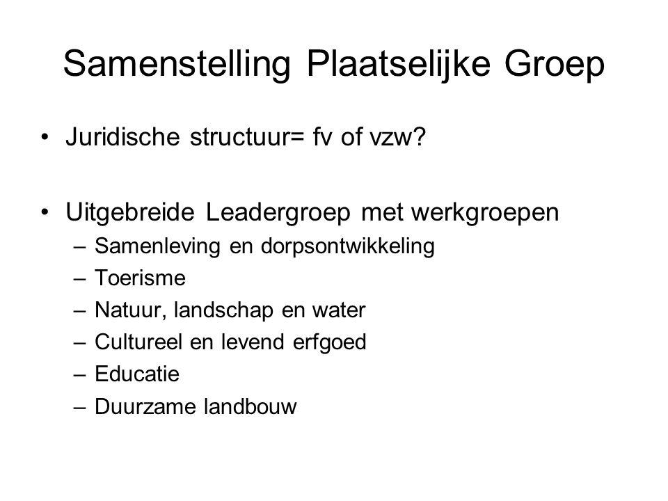 Samenstelling Plaatselijke Groep Juridische structuur= fv of vzw.