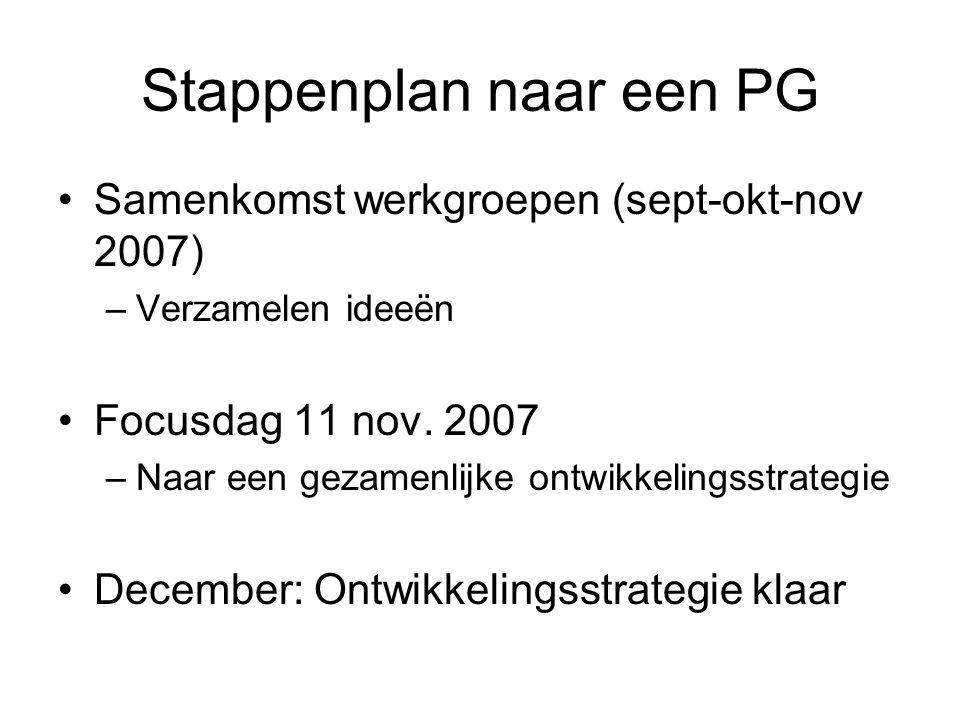 Stappenplan naar een PG Samenkomst werkgroepen (sept-okt-nov 2007) –Verzamelen ideeën Focusdag 11 nov.