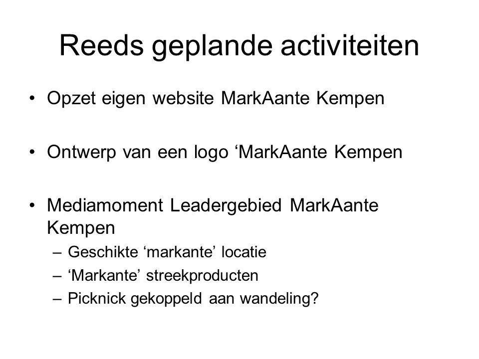 Reeds geplande activiteiten Opzet eigen website MarkAante Kempen Ontwerp van een logo 'MarkAante Kempen Mediamoment Leadergebied MarkAante Kempen –Geschikte 'markante' locatie –'Markante' streekproducten –Picknick gekoppeld aan wandeling?