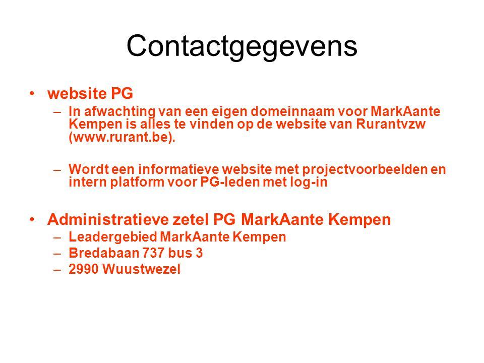 Contactgegevens website PG –In afwachting van een eigen domeinnaam voor MarkAante Kempen is alles te vinden op de website van Rurantvzw (www.rurant.be).