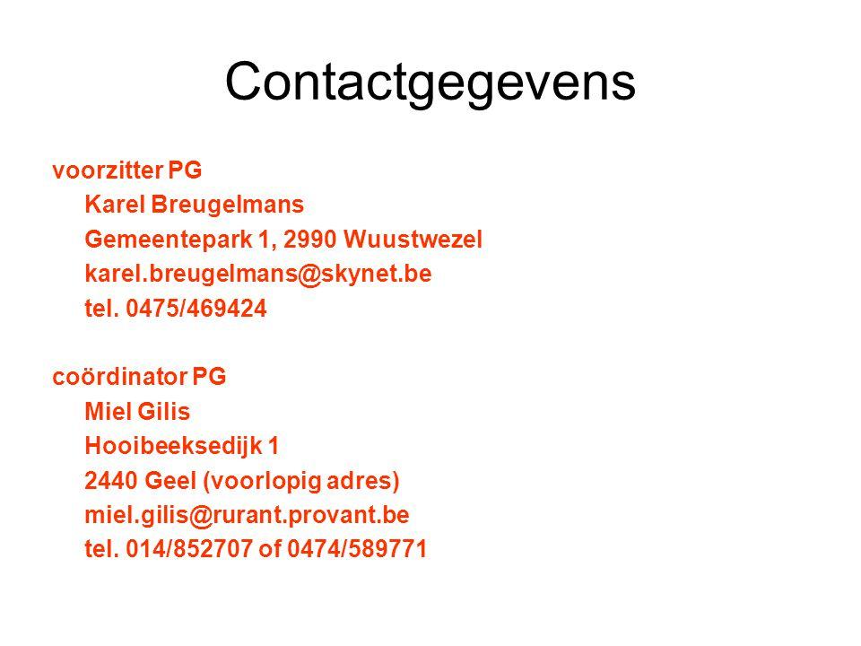 Contactgegevens voorzitter PG Karel Breugelmans Gemeentepark 1, 2990 Wuustwezel karel.breugelmans@skynet.be tel.