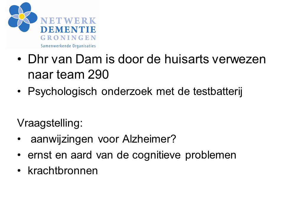 Dhr van Dam is door de huisarts verwezen naar team 290 Psychologisch onderzoek met de testbatterij Vraagstelling: aanwijzingen voor Alzheimer? ernst e