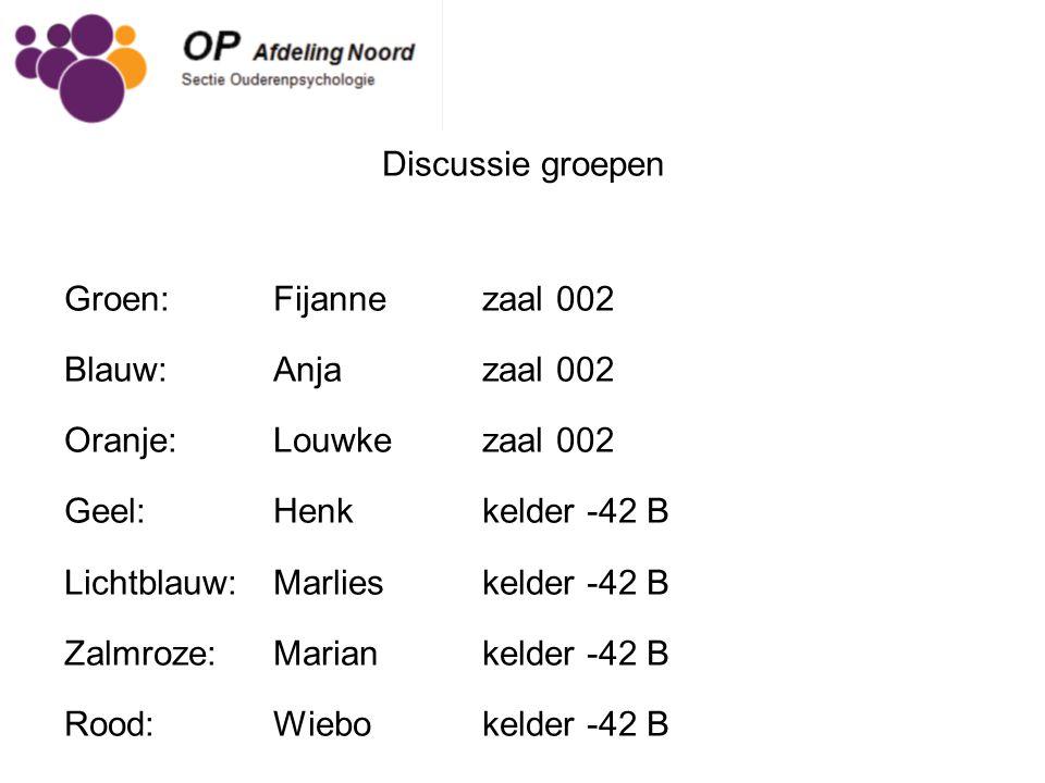 Discussie groepen Groen: Fijanne zaal 002 Blauw: Anjazaal 002 Oranje: Louwke zaal 002 Geel: Henk kelder -42 B Lichtblauw: Marlies kelder -42 B Zalmroz