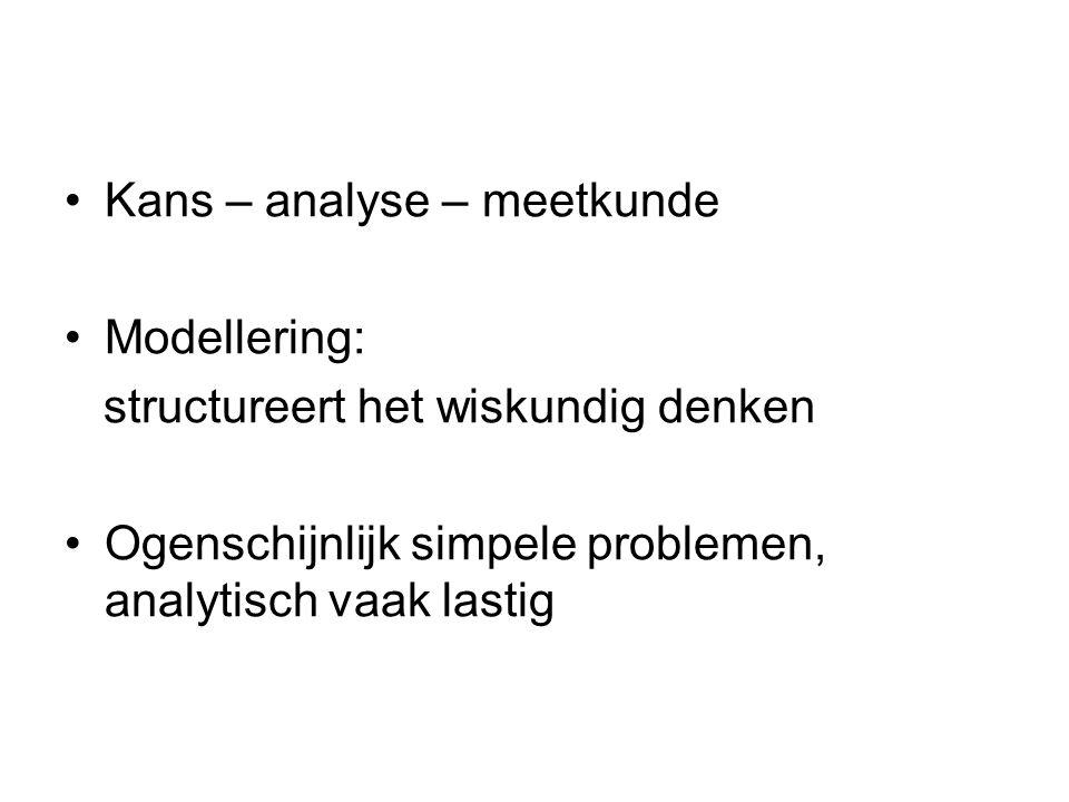 Kans – analyse – meetkunde Modellering: structureert het wiskundig denken Ogenschijnlijk simpele problemen, analytisch vaak lastig