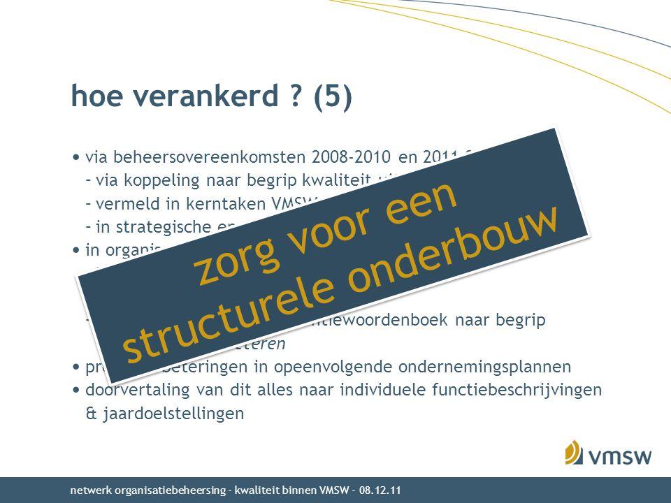 hoe verankerd ? (5) via beheersovereenkomsten 2008-2010 en 2011-2015 –via koppeling naar begrip kwaliteit uit beleidsnota Wonen –vermeld in kerntaken