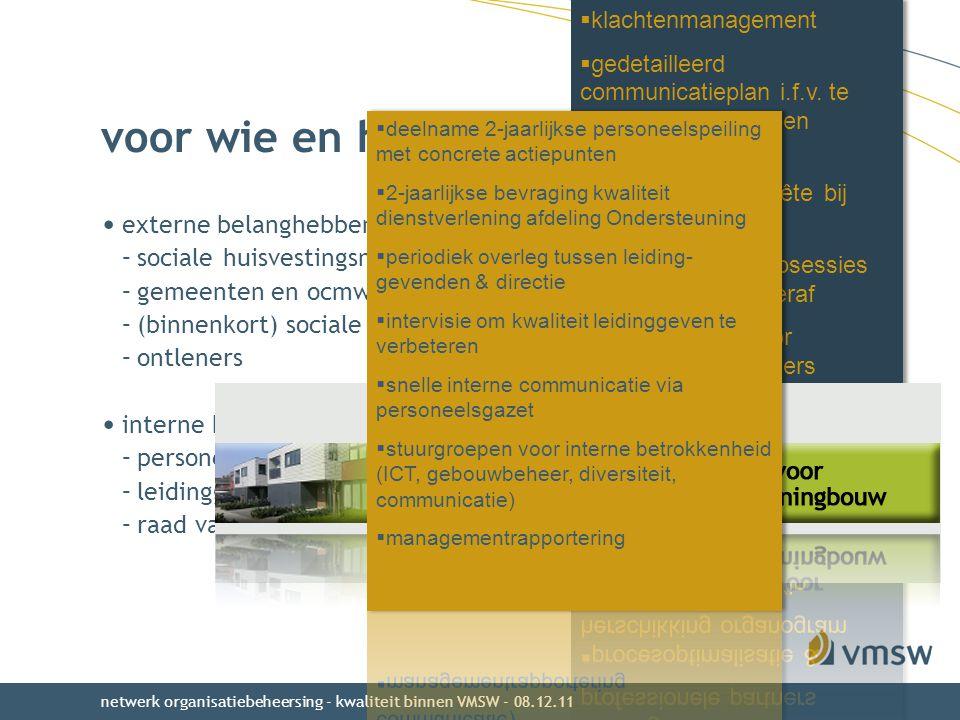 voor wie en hoe kwaliteit bereiken ? externe belanghebbenden –sociale huisvestingsmaatschappijen & hun partners –gemeenten en ocmw's –(binnenkort) soc