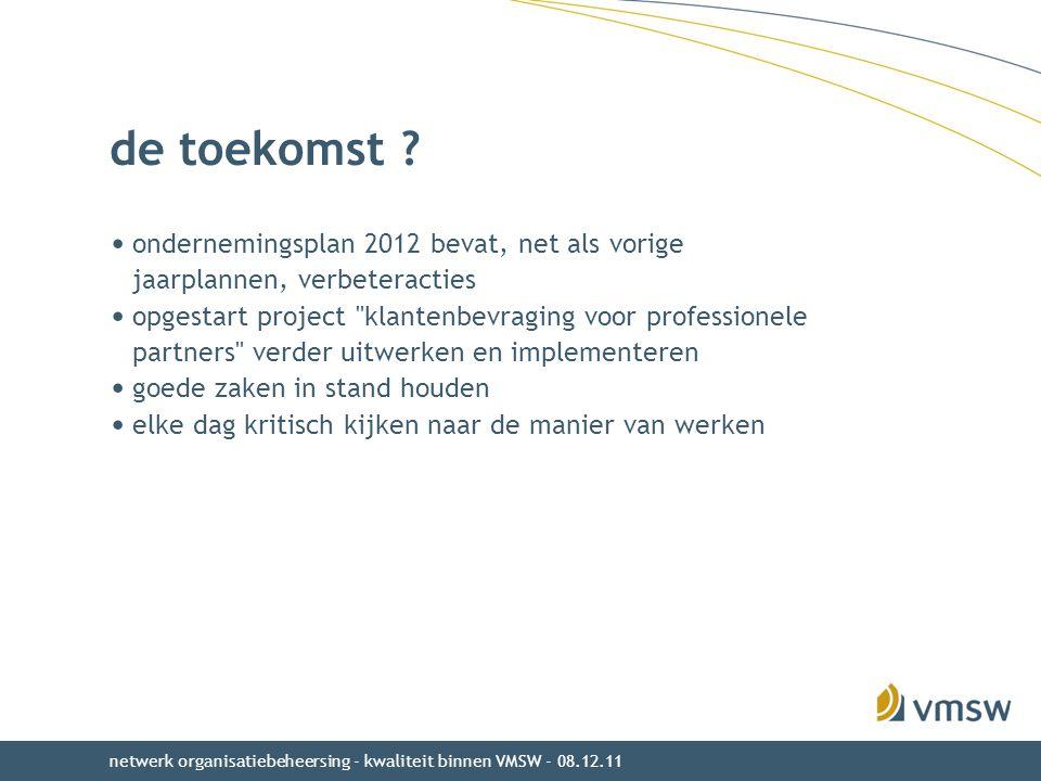 de toekomst ? ondernemingsplan 2012 bevat, net als vorige jaarplannen, verbeteracties opgestart project