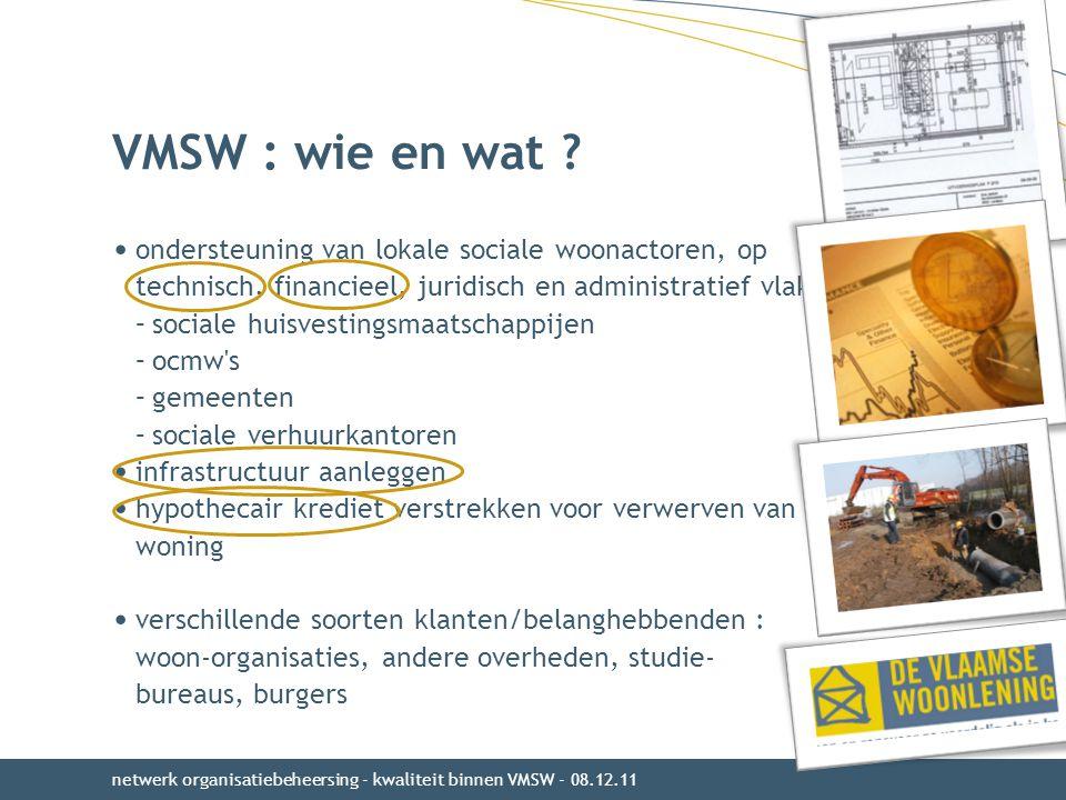 VMSW : wie en wat ? ondersteuning van lokale sociale woonactoren, op technisch, financieel, juridisch en administratief vlak : –sociale huisvestingsma